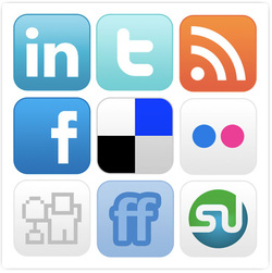 social media icons, online brand communications