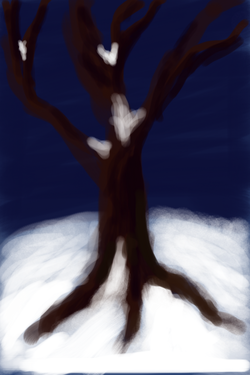Winter tree at night - Nick Venturella created with Brushes app on the iPhone